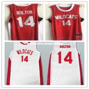 Rétro pas cher # 14 Zac Efron Troy Bolton Est lycée Wildcats maillots de basket-ball Throwbacks chemise cousue sur mesure un numéro