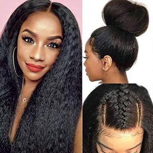 Kinky прямой парик фронта шнурка человеческих волос парики бразильский парик 180 Yaki парик человеческих волос 360 Кружева Фронтальная 250 Плотность Итальянский