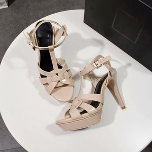 Sandales classiques à talons hauts Tribute / Soft Open Toe Leather Platform Sandals, chaussures de designer pour femmes, boucle en métal pour chaussures de ville