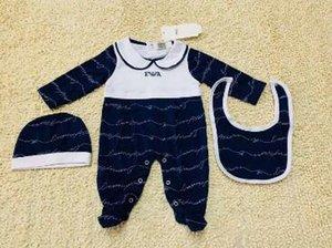 3pcs insieme del bambino ricamo pagliaccetto neonato appena nato stampa tute vestiti pagliaccetto bambini di marca tuta di alta qualità