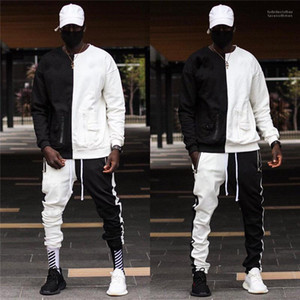 Autunno Mens Designer Due Pantaloni piece I Mens Street Style Survêtement Pour Homme Fashion HipHop contrasto di colore Tute Primavera