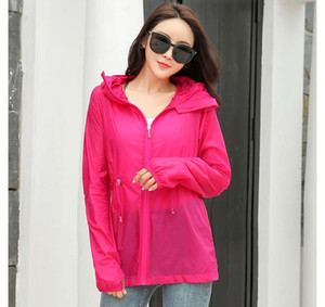 2019 designer Women's Summer Sun Wear 2019 New Long Sleeve Women's Solid Color Beach Outdoor Sportswear Hooded Coat Asia Wholesale