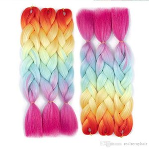 Ombre Four Tone Braiding Hair Extension Synthetic Kanekalon Jumbo Box Braids Rainbow Crochet Braiding Hair Bundles 5Pcs lot