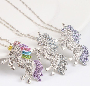 kids and women designer necklace colorful unicorn diamond pendant necklace children sweater chain jewellery accessories kids jewelry A0012