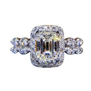 New Baroque Multi Emerald taglio radiante Diamond Rings Band con cristallo Vintage per le donne Wedding Ring Set di fidanzamento