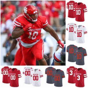 Custom Houston Cougars College Football Cosido Cualquier Número Nombre Rojo Blanco Gris # 7 Estuche Keenum 10 Ed Oliver 4 D'Eriq King UH Jersey