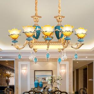 Nuevo diseño de aleación de zinc pendiente de la lámpara se enciende con el cristal K9 para la isla de la cocina Comedor Línea lámparas colgantes franceses del accesorio de iluminación