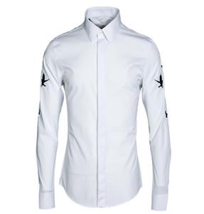 Los más nuevos hombres visten camisa más el tamaño 3XL bordado Flying swallow Camisa Masculino moda delgada camisa ocasional masculina