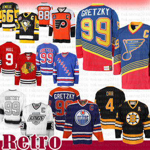 Vendita poco costosa Wayne Gretzky St. Louis Blues New York Rangers Edmonton Oilers CCM 4 Bobby Orr Boston Bruins Heroes of Los Angeles Hockey Jersey