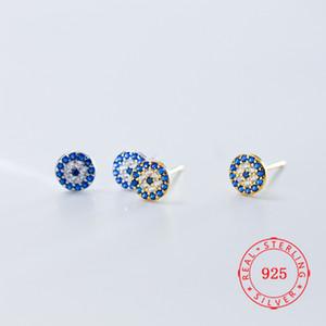 نقية 100٪ 925 الفضة الاسترليني قوانغتشو المجوهرات ذات جودة عالية الأزرق الشر تصميم العين مسمار الأقراط تركيا الذهب مطلي القرط