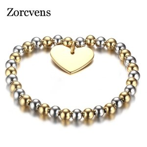 Modyle Womans Balls Bead Bangle Stainless Steel Love Heart Cross Charms Stretch Bracelet Best Friendship Gift Wedding
