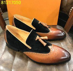 İtalyan tasarımcı elbise ayakkabı iş ayakkabısını mens Geçmeli daireler Oxford ayakkabı püsküller deri Chaussure Hombre 38-44