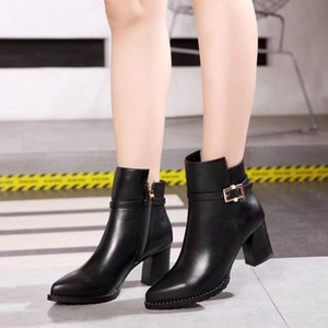 Hot Sale-New high-heeled ankle boots international pointed leather fashion women's boots designer party bridal boots