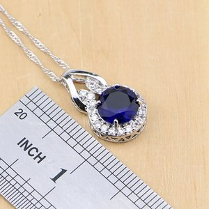 925 Silver Jewelry Blue Cubic Zirconia Jewelry White Zircon Women Earring Pendant Necklace Rings Bracelet Party Jewelry Sets