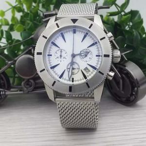BR 1884 Fonksiyonel Mens Watch Superocean Chronograph Chronomat Colt Kuvars Havacılık Tam Beyaz 42 Saatı Çelik Bant Açık Saatler