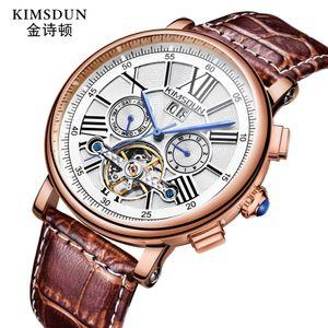 KIMSDUN бренд мужские наручные часы Автоматические механические Многофункциональное Tourbillon натуральная кожа человека часы водонепроницаемый