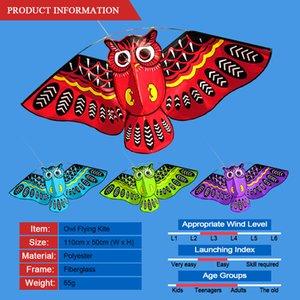 Colorful Easy Fly Kite 43 x 20 pollici Owl Cartoon Aquilone con 50M linea di giocattoli per bambini all'aperto Acqua Sport aerei Dischi