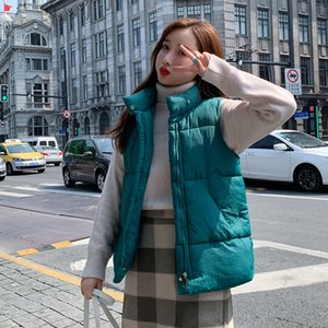 Fashion Stand collar Short Women Vest Down cotton Coat Slim Warm Sleeveless Outerwear Solid Casual Female Waistcoat Loose Tops
