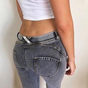 Damenmode dünne dünne Push Up Lange Denim-Bleistift-Hosen-beiläufige reizvolle elastische hohe Taille 5Colors Femme Hose Jeans Frau