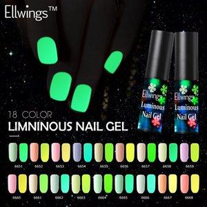 Ellwings Nail Gel fluoreszierend leuchtendes Gel Nagellack UV-Glühen im dunklen polnischen Lack Top Base Coat Primer