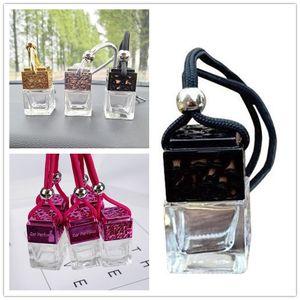 Botella de perfume del coche Cubo coche perfume colgantes retrovisor ornamento del ambientador de aire para Aceites Esenciales Difusor Perfume botella de cristal vacía