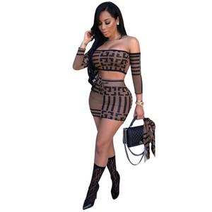 Womens Designer Due pezzi Set Luxury Geometric Pattern Top corto + Gonne Sexy abiti a due pezzi Street Style Abbigliamento donna 2 colori Novità