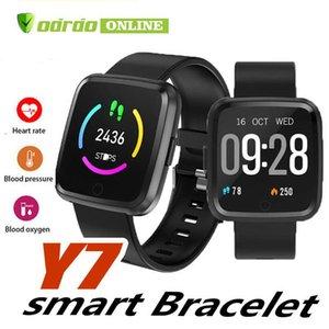 Y7 Pulsera inteligente Presión arterial Oxígeno Sport Fitness Tracker Reloj Monitor de ritmo cardíaco Mujeres Pulsera Pk Versa Mi band 3 115 Plus