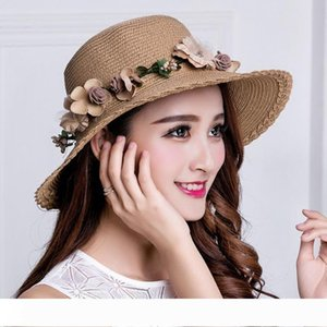 Wholesale summer sun protection women straw hats sun hats girl with wreaths bowknot cool sun beach straw hats free ship