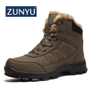 ZUNYU Grueso Felpa Mantener Cálido Hombres Botas de nieve Zapatos de cuero antideslizantes Hombres Cómodos Zapatos de invierno Botas de nieve Suela duradera