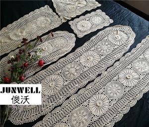 100% de algodão de artesanato crochet Toalhas do chique da tabela de malha clássica Topper artesanal tampa do sofá Runner Tabela 1PC Y200421