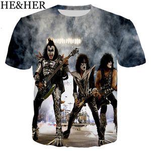 Hot Rock band KISS 3D Print men women t-shirts Hip hop men T shirts streetwear Harajuku Short sleeve Summer Fashion Star Tees