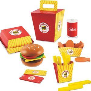 Enfants Play House Toys Woody Simulation Fries Hamburgers Aliments Interactive Cuisine Éducative Bébé Garçons Filles Jouet 26pcs / set