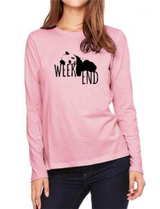 Tshirt Bahar Sonbahar Bayan Ekip Boyun Giyim Bayan Tasarımcı Tişörtleri Weenend Panda Baskılı Rahat Uzun Kollu