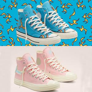 2020 Гольф Le Fleur x Chuck 70 синель пламя Привет Мужчины Женщины Звезда Skateborad обувь Мода GLF 1970 высокий розовый синий холст кроссовки размер 36-44