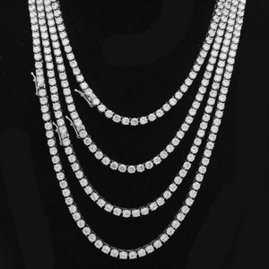 Hip Hop heló hacia fuera Pista de cadena como diamantes de los hombres de la pulsera del collar de lujo 4 mm de acero inoxidable de plata color oro Hombres cubana Enlace joyería 2020