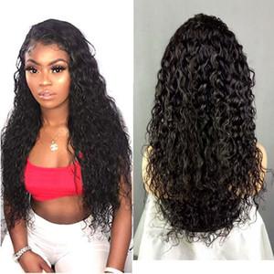 Pegue menos las pelucas delanteras del cordón Peluca rizada del cordón del pelo de la Virgen brasileña rizada con el pelo del bebé Color natural de 150 densidades para las mujeres
