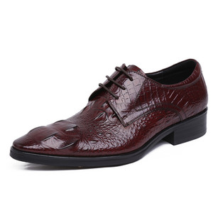 2020 cheap Hot Sale Men's Leather Shoes Embossed Crocodile Pattern Leather Pointed Toe Formal Wear Leather Oxfords