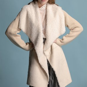 Amazon explosion models in Europe and America new autumn and winter 2019 women's fur coat mixed fur knit stitching