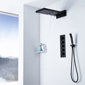 Rainfall Showerheads 검정 온도 조절 샤워 꼭지 세트 벽 장착 욕실 샤워 세트 Brass Hand Held Shower