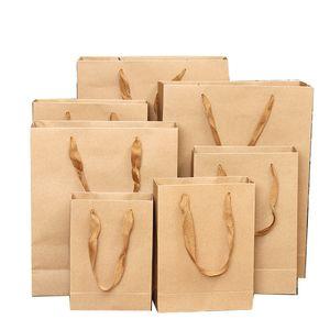 Gift clothing takeaway food packaging universal shopping tote bag kraft handle bag wholesale BG435