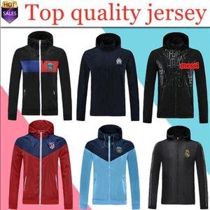 Tayland kapüşonlu ceketler 2020 Real Madrid Paris futbol WINDBREAKER Marsilya Futbol ceket Sportswear fermuar