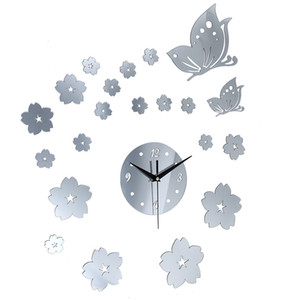 Creative Crystal Solid Mirror Wall Clock Stickers Home TV Background Decor