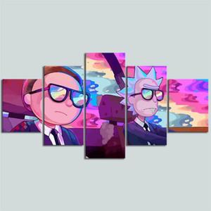 Comic Rick Morty I, 5 pezzi di stampa di HD su tela nuova decorazione della casa Arte Pittura / (Unframed / Framed)
