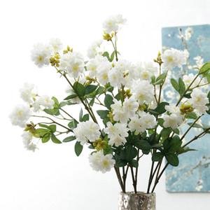 18heads Sakura Cherry Blossoms Flower Branch Искусственные цветы Флорес Рождество Главная Свадебные украшения Поддельный цветок Fleur