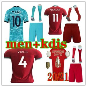 2020 2021 Adult Kit Football Jersey Home Red Away Blue third Shirt 20 21 Men and kids Football Uniforms kit socks
