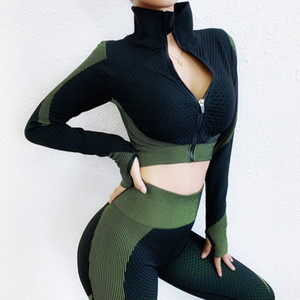 women's sports suit workout clothes for women Seamless Long Sleeve yoga set Tracksuit 2 piece set fitness suit gym clothing T200530