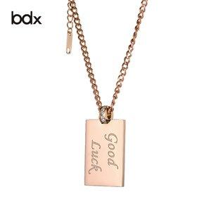 Collana in acciaio inox con piastra in metallo per le donne in oro rosa pendenti gioielli moda catena lunga collana maglione fortunato accessori