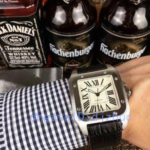 2020 nouvelles montres 40mm bracelet en cuir montre en acier inoxydable mouvement automatique cas argent mécanique mens montres-bracelets de sport