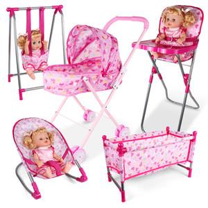 Simülasyon mobilya oyuncak bebek evi Aksesuarları Sallanır Sandalye Sandalye Bebek Evi Rol Yapma Oyunu Oyuncak oyna Yemek Servisi Oda Salıncak