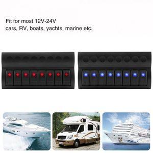 Freeshipping 3Pin 8 갱단 로커 스위치 패널 12V 24V LED 방수 로커 스위치 패널 회로 차단기 자동차 해양 보트에 대한 자동차 스타일링